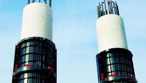 Geotub ist unsere modulare wiederverwendbare Schalung für den Bau und die Rekonstruktion von runden und elliptischen  Säulen.