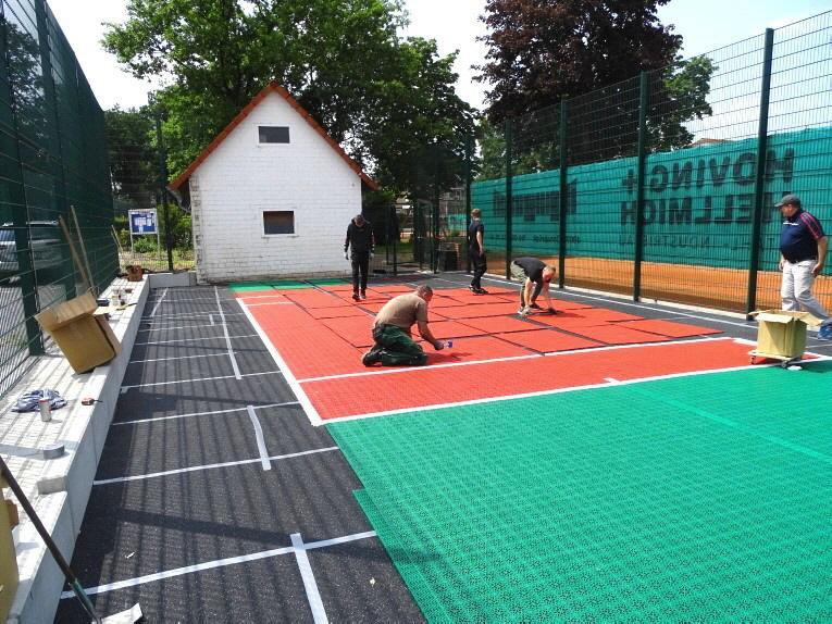 Installation U-8 Tennis Kleinspielfeld für TSV Wallenhorst aus Tennis-Boden-System von OSTACON Bodensysteme