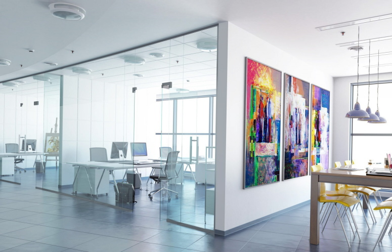 Büro mit PVC-Boden-Fliese Typ INVISIBLE in Grau