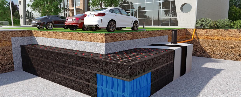 Das mit Aqua-Box entwickelte Regenwasserrückhalte- und Infiltrationssystem bietet einen effizienten Hochwasserschutz sowohl für die natürliche als  auch für die gebaute Umwelt