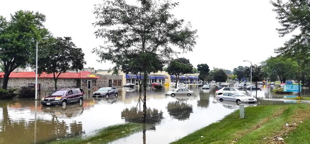 Schützen der Häuser und Straßen bei Starkregen
