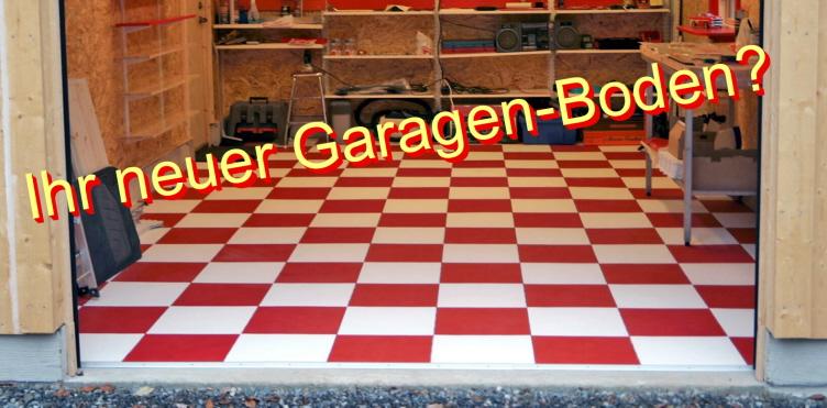 Garage mit Bodenfliesenbelag Typ ELITE in Rot und Weiß
